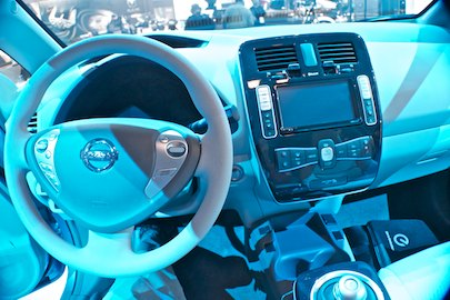 Nissan Leaf dashboard and console